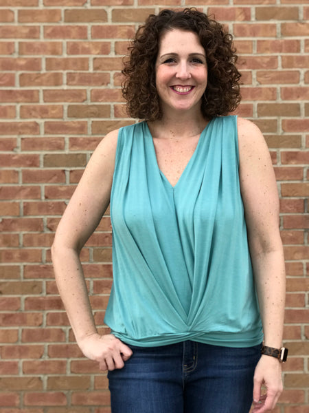 Gathered A-Line V-Neck Top