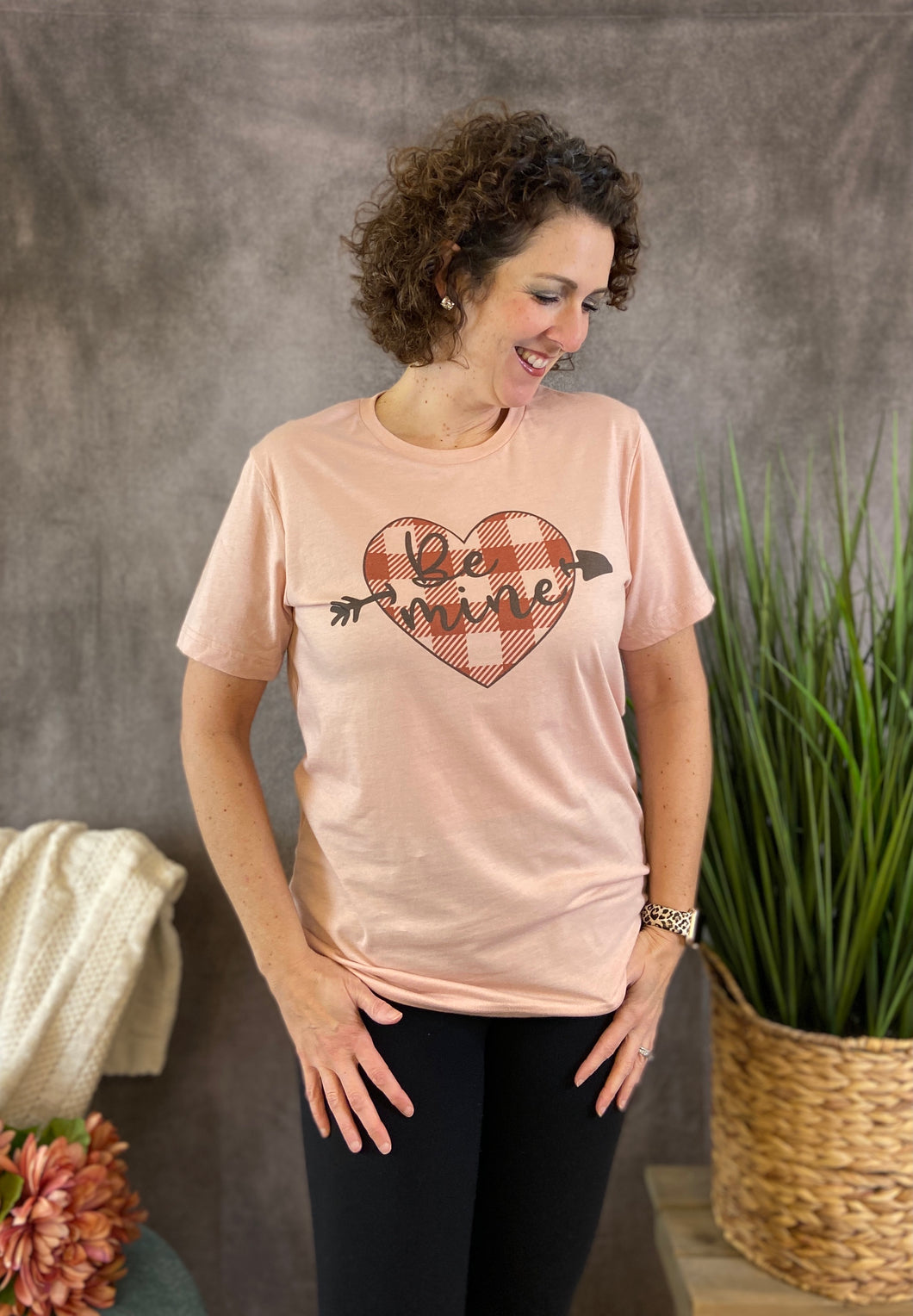 BE MINE PLAID HEART Graphic Tee