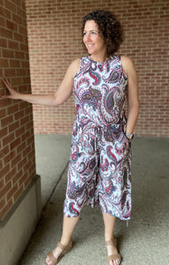 Paisley Cropped Jumpsuit
