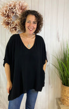 Load image into Gallery viewer, Drop Shoulder Poncho Style Tunic Top - BLACK