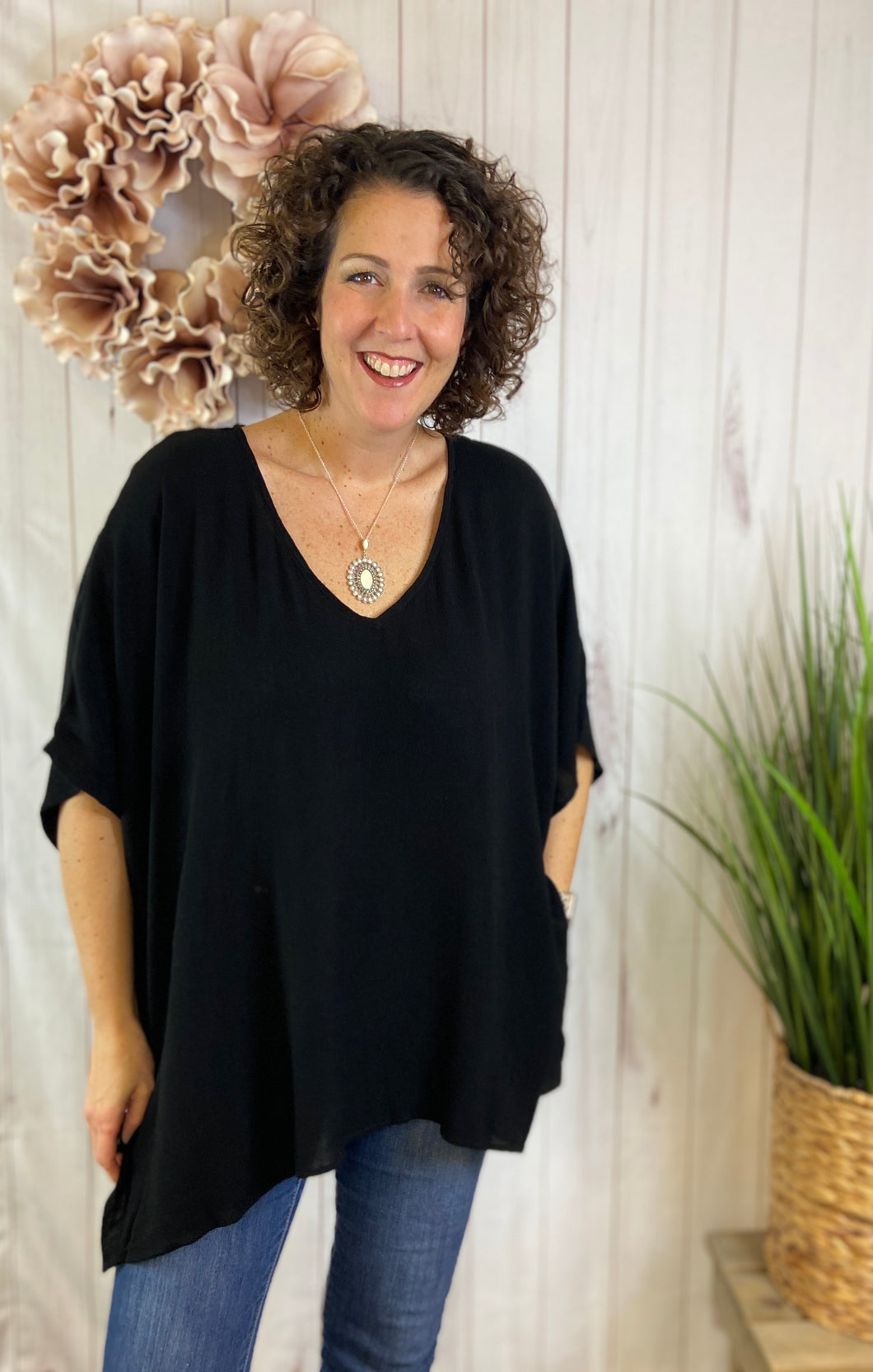 Drop Shoulder Poncho Style Tunic Top - BLACK
