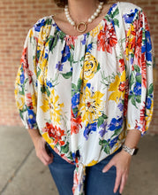 Load image into Gallery viewer, Bold Floral Puff Sleeve Top with Tie
