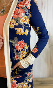 Floral Midi Cardigan with Contrast Cuffs