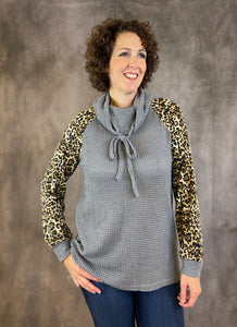 Cowl Neck Waffle Top with Leopard Sleeves