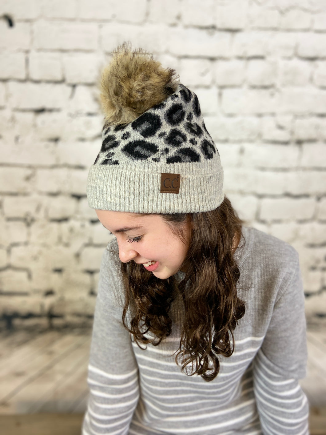 CC Leopard Hat with Faux Fur Pom