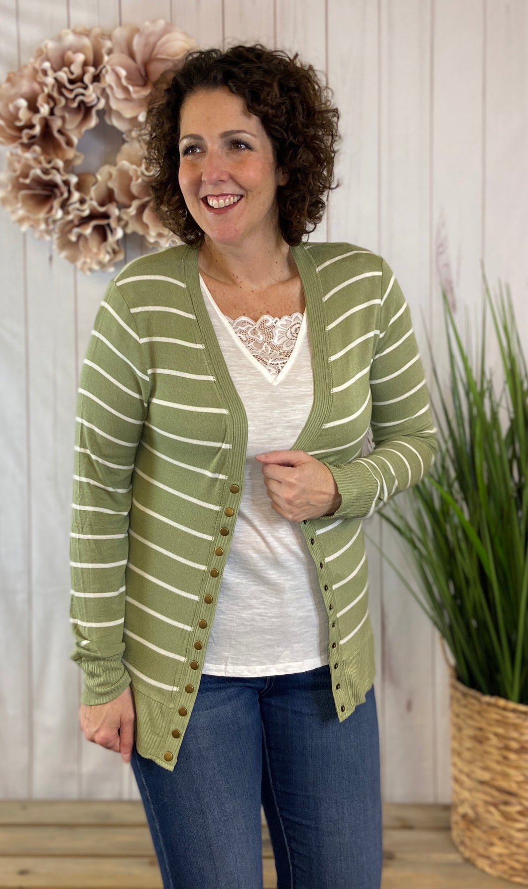 Spring Striped Snap Button Cardigan - SAGE