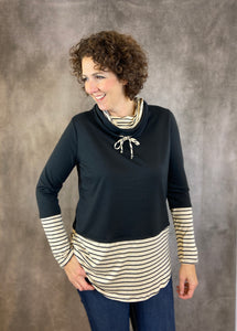 Cowl Neck Top with Stripe Detail