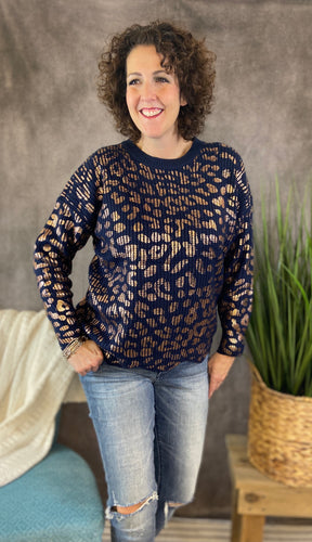 Metallic Leopard Sweater with Scalloped Hem