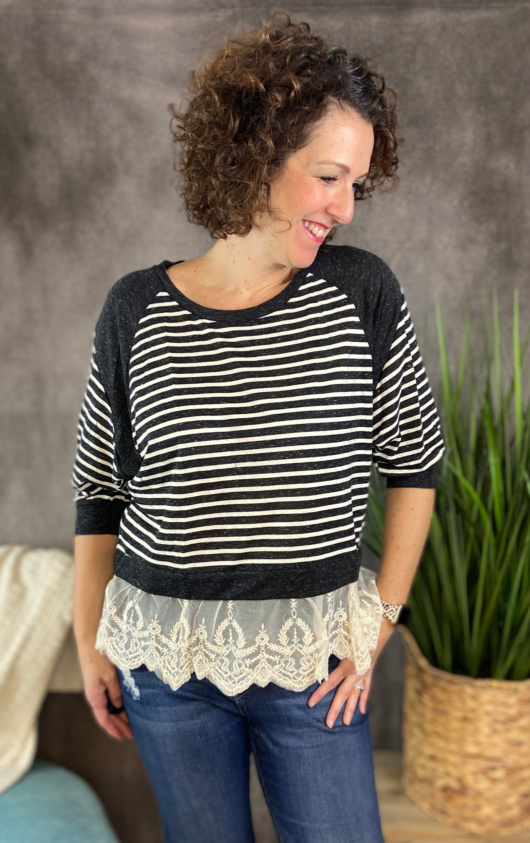 Striped Top with Lace Hem
