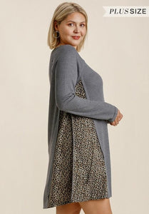 Curvy Waffle Knit Dress with Animal Detail