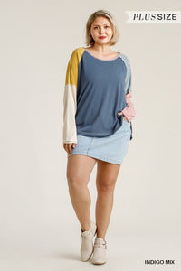 Colorblock Curvy Top with Raw Edge