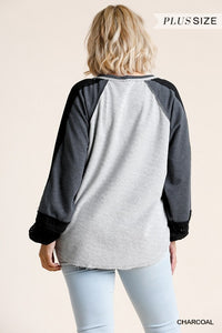 French Terry Curvy Raw Edge Top - CHARCOAL