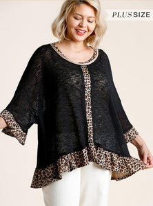 Sheer Curvy Animal Trim Top