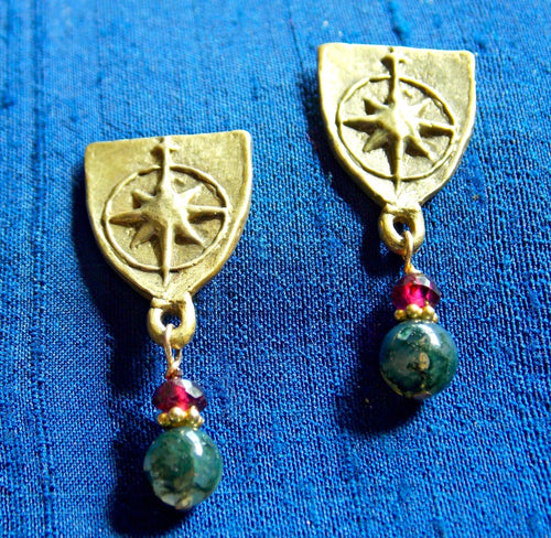 Compass rose earrings with moss agate & garnet drops