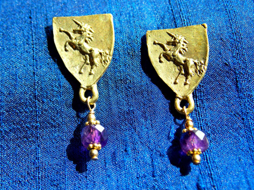Unicorn with Amethyst drops, Bronze, 22k gold vermeil, 14k/20 gold posts