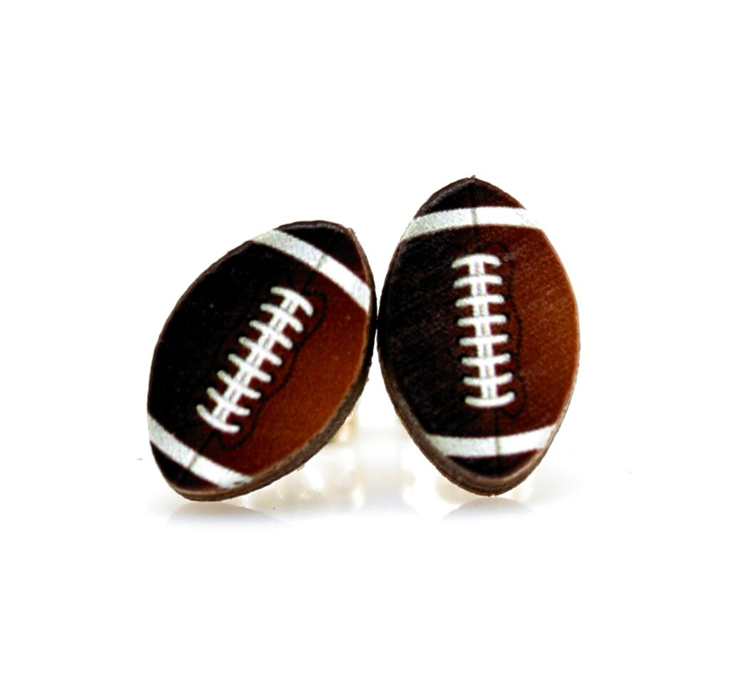 Green Tree Jewelry - Football Stud Earrings
