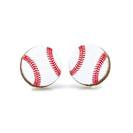 Green Tree Jewelry- Baseball Stud Earrings