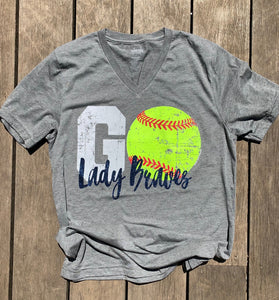 CREW NECK Lady Braves Go Softball Tee