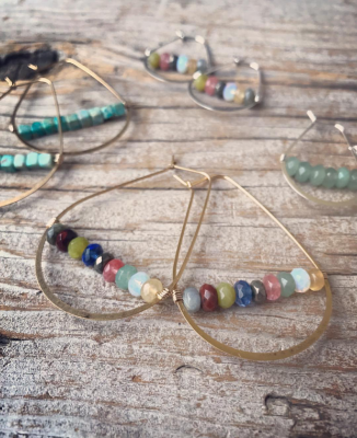 Mixed Gemstone Oval Hoop Earrings