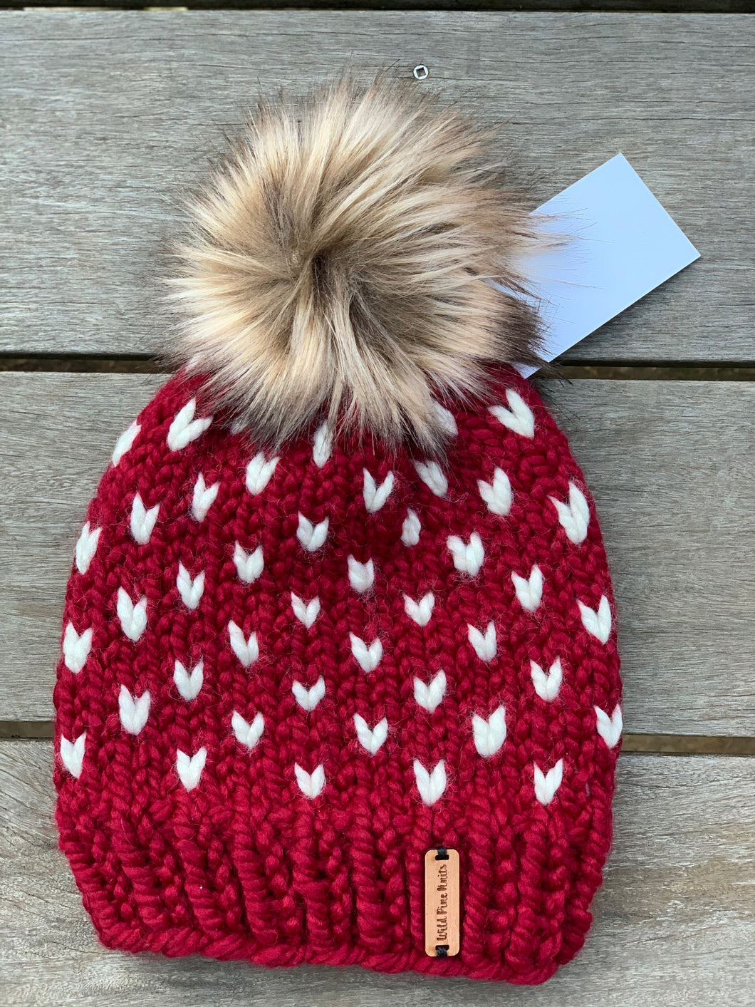 Red Tiny Heart Pom Hat