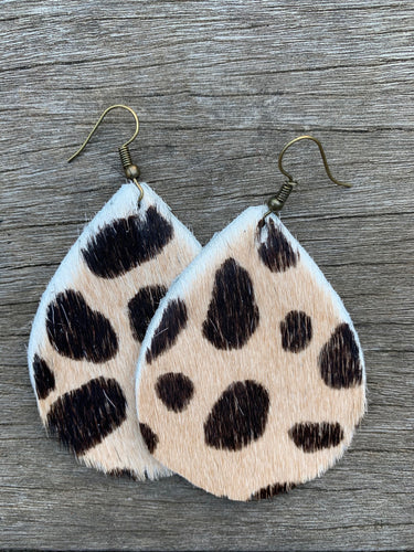 Cow Hide Leather Earrings