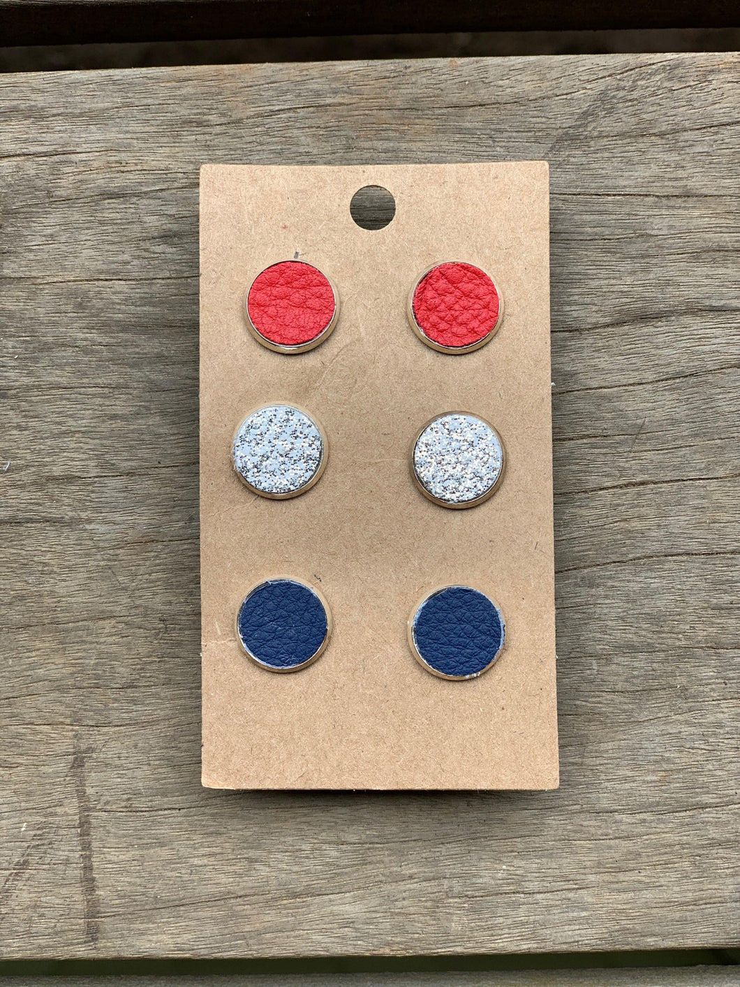 All American Red, White & Blue Leather Studs