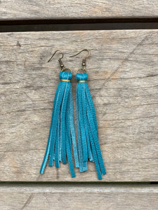 Turquoise Leather Tassle Earrings