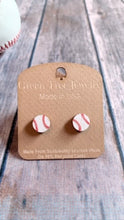 Load image into Gallery viewer, Green Tree Jewelry- Baseball Stud Earrings
