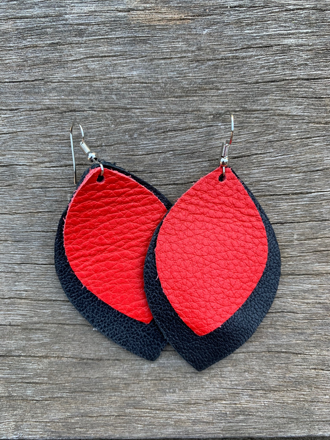 Black & Red Leather Earrings
