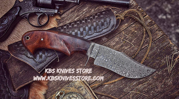 Damascus Steel Clip Point Hunting Knife