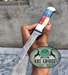 TEXAS FLAG HANDLE DAMASCUS FILLET KNIFE