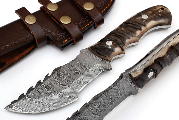 Damascus Sheep Horn Tracker Knife