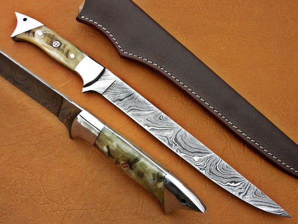 Damascus Flexible Blade Fillet Knife