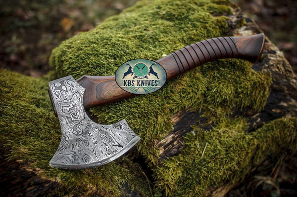 Custom Hammered Damascus Steel Viking Tomahawk