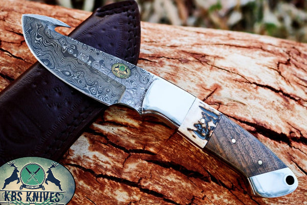 Damascus Steel EDC Guthook Skinner Knife