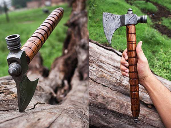 Smoke Pipe Damascus Tomahawk