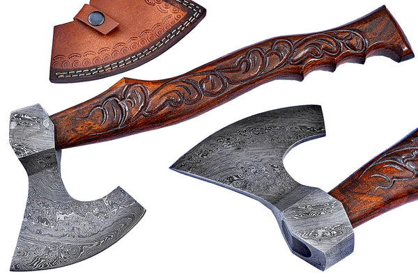 Engraved Damascus Steel Tomahawk