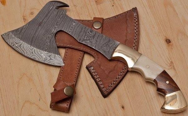 Full Tang Custom Handmade Damascus Steel Mini Axe/Tomahawk