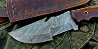 Custom Handmade Damascus Steel Camping Tracker Knife