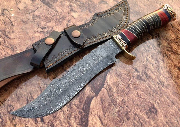 Custom Handmade Damascus Steel Hunting Bowie knife