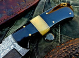 Custom Handmade Raindrop Damascus Steel Skinning Knife