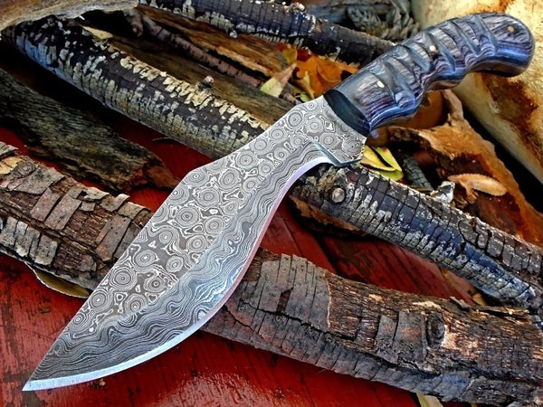 FULL TANG CUSTOM HANDMADE DAMASCUS STEEL HUNTING/KUKRI/JUNGLE KNIFE