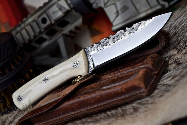 Damascus steel hand forged EDC knife