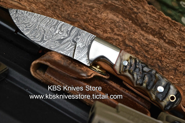 Custom-Handmade-Damascus Steel Sheep Horn Hunting/Skinning Knife