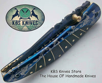 New Custom Handmade Patina-Color Damascus EDC Folding Knife