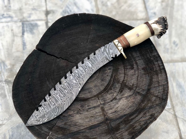 New Custom Handmade Damascus Steel Kukri Knife