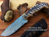 Custom Handmade Damascus Steel Sheep-Horn Hunting/Skinning/Camping Knife