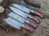 Damascus Hand Made Kitchen Knives Set