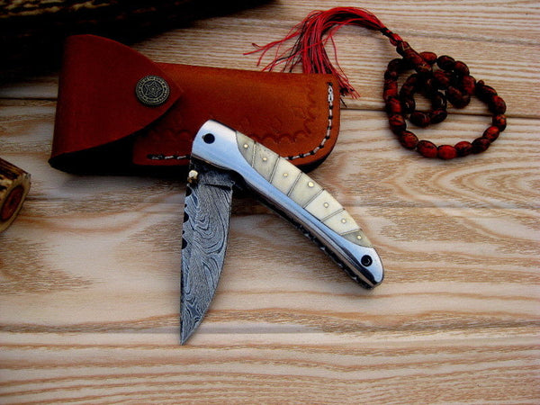Custom Handmade Damascus Steel Bone Handle Folding/Pocket Knife