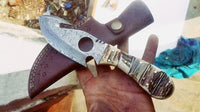 Full Tang Custom Handmade Damascus Steel Gut Hook Skinning Knife